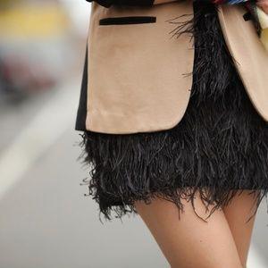 Sam Edelman Velvet Waist Feather Skirt